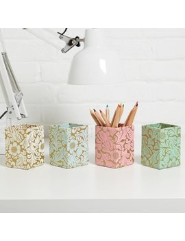 100 Percents Recycled Gold Floral Print Pen Pot by Etsy