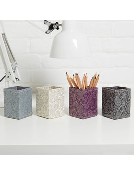 100 Percents Recycled Gold And Pewter Paisley Print Pen Pot by Etsy