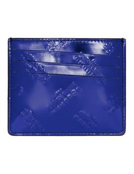 Blue & Black All Over Logo Card Holder by Maison Margiela