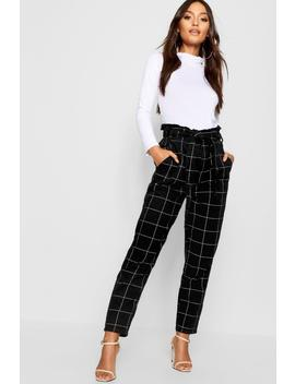 Petite Grid Check Paper Bag Straight Leg Jean by Boohoo