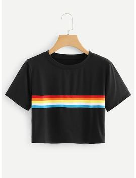 Colorful Striped Crop Tee by Sheinside