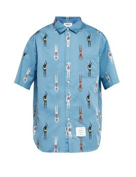 Swimmer Print Cotton Shirt by Thom Browne