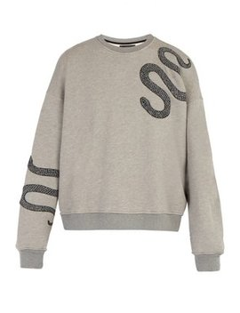 Snake Embroidered Cotton Sweatshirt by Amiri