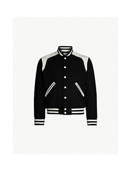 Tiger Embroidered Wool Blend Bomber Jacket by Sandro