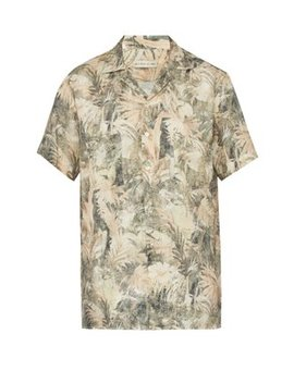 Palm Print Linen Shirt by Etro