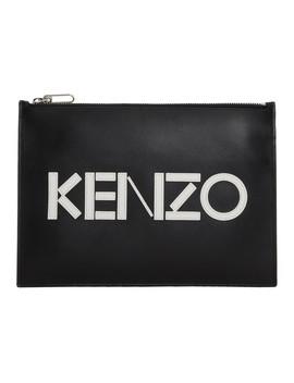 Black Logo A4 Pouch by Kenzo
