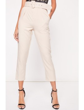 Becky Nude Belted Trousers by Misspap