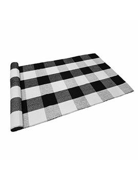 Levinis Black And White Plaid Rug 100 Percents Cotton Porch Rugs Black/White Hand Woven Checkered Door Mat, 23.6''x35.4'' by Levinis