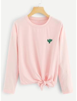 Cactus Embroidered Knot Tee by Sheinside