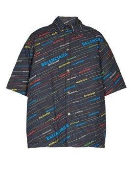 Padded Oversized Logo Print Shirt by Balenciaga