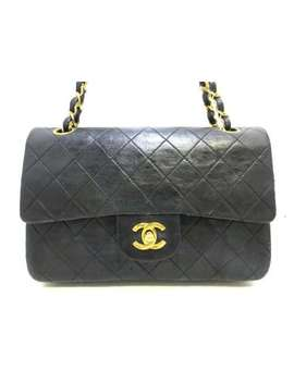 Auth Chanel Matelasse Black Lambskin Shoulder Bag Double Flap Gold Hardware by Chanel
