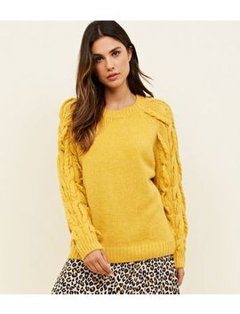 Cameo Rose Mustard Plait Sleeve Jumper by New Look