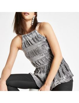 Silver Ruched Velvet Halter Neck Cami Top by River Island