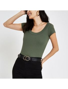 Khaki Green Ribbed Scoop Neck T Shirt by River Island