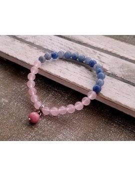Rose Quartz Bracelet, Pink And Blue Gemstone Bracelet Gift, Gift For Girlfriend, Sodalite Healing Crystal Yoga Jewelry by Etsy