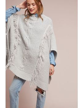 Fringed Cable Knit Poncho by Anthropologie