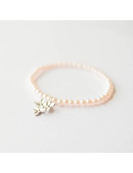 Pink Pearl Bracelet With Flower by Etsy