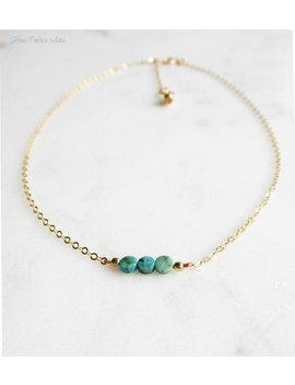 Small Turquoise Choker Necklace Gold, Turquoise Choker Beaded, Adjustable Choker For Women Silver, 3 Dot Necklace, December Birthstone by Etsy