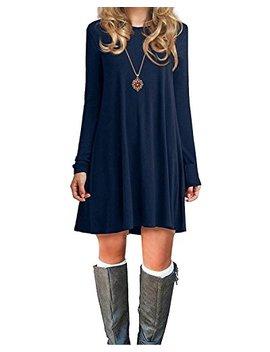 Womens Basic Loose T Shirt Plain Long Sleeve Flowy Swing Dress Simple Tunic by American Trends
