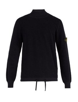 High Neck Cotton Fleece Sweater by Stone Island