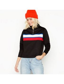 Red Herring   Black Stripe Front Zip Neck Polo Top by Red Herring