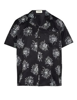 Palm Print Short Sleeved Silk Blend Shirt by Commas