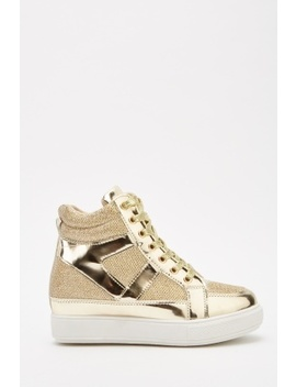Metallic Lurex High Top Trainers by Everything5 Pounds