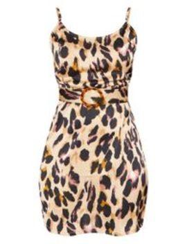 Tan Satin Leopard Print Tortoiseshell Belt Shift Dress by Prettylittlething