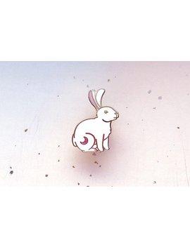 Crescent Moon Rabbit Enamel Pin by Etsy