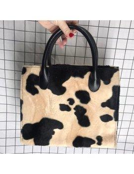 Vintage 90's Super Plush Cow Faux Fur Mini Handbag/Purse by Etsy
