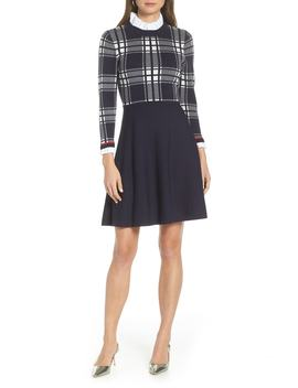 Plaid Bodice Sweater Dress by 1901