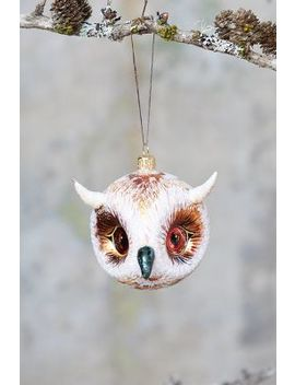 Owl Head Glass Ornament, Small by Anthropologie