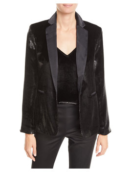 Metallic Satin Single Button Blazer by Frame