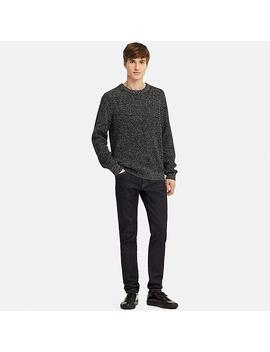 Men Middle Gauge Knit Ribbed Crew Neck Jumper by Uniqlo