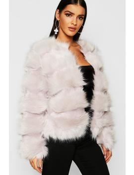 Boutique Panelled Faux Fur Coat by Boohoo