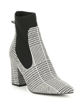 Richter Plaid Block Heel Booties by Steve Madden