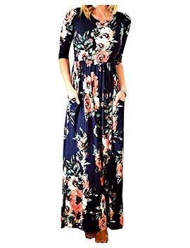 Foshow Womens Floral Maxi Dress 3/4 Sleeve Empire Waist Floor Length Boho Pleated Casual Dresses by Foshow