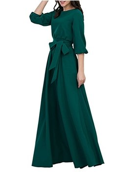 Simple Flavor Women's Vintage 3/4 Lantern Sleeve Maxi Dress With Pockets by Simple Flavor