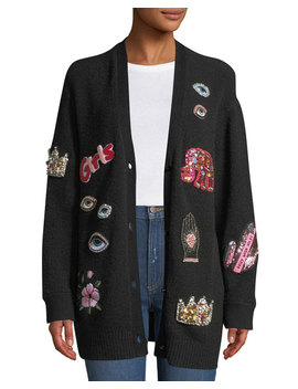 Bradford Embellished Grandpa Cardigan by Alice + Olivia