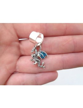 Tiny Blue Glitter Dragon Ear Cuff by Etsy