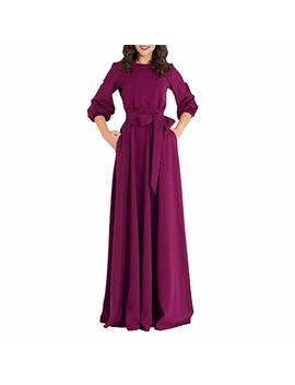 Zimoxuan Womens Casual Dresses O  Neck 3/4 Sleeve Solid Maxi Long Dress by Zimoxuan