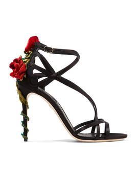 Sandalen Aus Satin Mit Samt Und Kristallen by Dolce & Gabbana