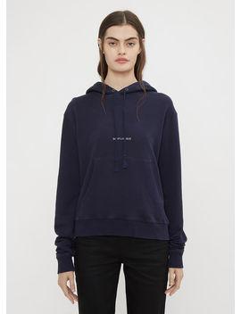 Destroyed Saint Laurent Logo Hooded Sweatshirt In Blue by Saint Laurent