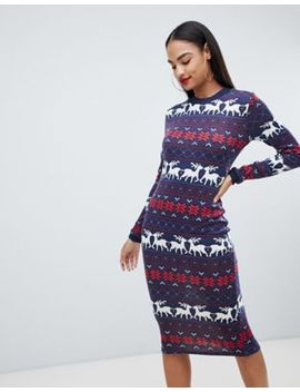 Club L Christmas Fairisle Jersey Dress by Club L
