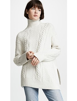 Diagonal Cable Turtleneck by Vince