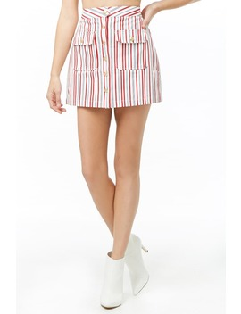 Striped Denim Mini Skirt by Forever 21