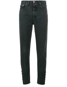 Mid Rise Straight Leg Jeans With Hook And Eye Detail by Olivier Theyskens