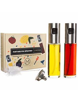 Oil Sprayers By Modern Livin – Set Of 2 Premium Olive Oil Dispensers 100 Ml/3.4oz – Glass Vinegar Mister Bottle For Cooking, Baking, Bbq, Salads – Stainless Steel Funnel & Cleaning Brush Included by Modern Livin