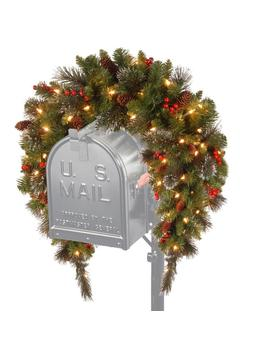 3 Ft. Battery Operated Crestwood Spruce Artificial Mailbox Swag With 50 Clear Led Lights by National Tree Company