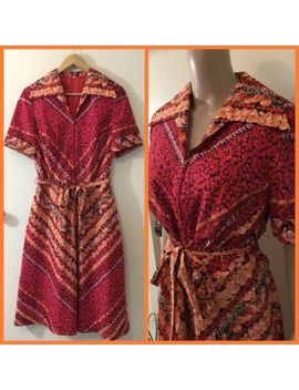 Vintage 60's 70's Retro Print Day Dress Large Collar 44 by Unbranded
